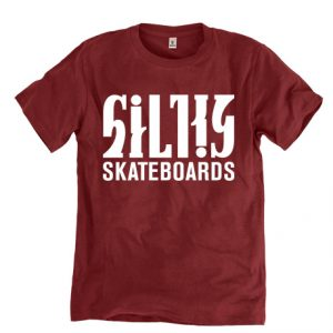 Silky-skateboards-tpaita-viininpunainen-logo